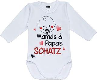MEA BABY Unisex Baby Langarm Body mit Spruch Mamas & Papas Schatz, 100% Baumwolle, Baby Body weiß für Mädchen, Baby Body Weiss für Jungen.