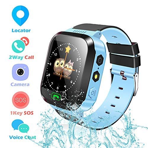 Kids Smart Watches, Watches for Kids with GPS, Children Tracker Watches Feature Real Time Positioning/SOS Emergency Alarm/Voice Messages, Kids Wrist Watches, The Best Gifts for Children(Blue)…