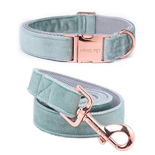Aring Pet Hundehalsband und Leine, Samt, weich und bequem, verstellbare Halsbänder für Hunde, M, grün