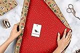Geschenkpapier Set Weihnachten: Modernes Ornamente-Muster: 4x doppelseitige Einzelbögen + 4x Geschenkanhänger