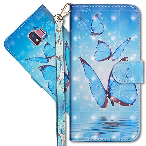 MRSTER Funda para Samsung Galaxy J2 Core, 3D Brillos Carcasa Libro Flip Case Antigolpes Cartera PU Cuero Funda con Soporte para Samsung Galaxy J2 Core. YX 3D Butterfly Spring