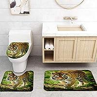 ZGDPBYF 浴室用アップホームバスマットヒョウタイガーアニマルズプリントバスマットシャワーフロア用カーペットバスタブマット