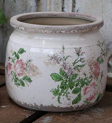 Chic Antique Übertopf Rosen Keramik D15,5 cm H13 cm