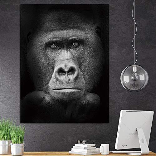 YuanMinglu Orangutan pensante Dipinto su Tela Animale Bianco e Nero Poster da Parete per Animali Decorazione per la casa Stampa su Tela Poster Senza Cornice 30x45cm
