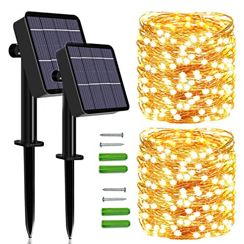 Solar String Lights Outdoor, 2 Pack 120 LED Solar Fairy Lights 46Ft Solar Garden Lights Waterproof 8 Modes Indoor/Outdoor Copper Wire Decorative Lighting for Home Patio Yard Party Wedding(Warm White)