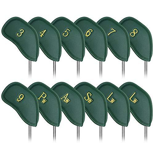 Craftsman Golfschlägerhauben aus dickem Kunstleder, passend für alle Marken Callaway Ping Taylormade Cobra etc., 12 Stück, 12 Stück Grün mit Gold Nr.