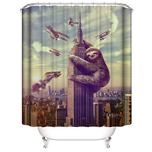 LLLTONG Duschvorhang wasserdicht & Schimmel waschbar Duschvorhang Polyester Stoff 3D Duschvorhang Urban Faultier AFFE