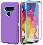 Annymall for LG V40 Case, LG V40 ThinQ Case, with Built in Screen Protector Full Body Rugged 3 in 1 Bumper Heavy Duty Shockproof Drop/Dust-Proof Protective Phone Case Cover for LG V40 (Purple/Mint)