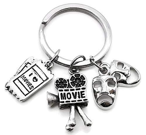 Movie Keychain, Movie Camera Keychain, Movie Ticket Charm Keychain, Comedy Tragedy Mask Keychain, Hollywood Movie Charm Keychain, I Love Movie Keychain