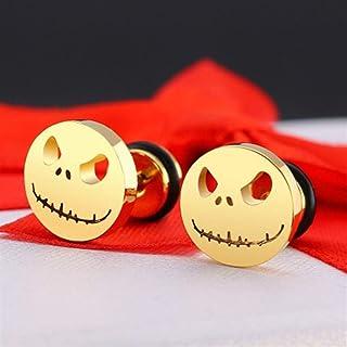 LOGU Round Earrings Halloween Pumpkin Head Stud Earrings Men And Women Jewelry Punk Stud Earrings (Color : Yellow)