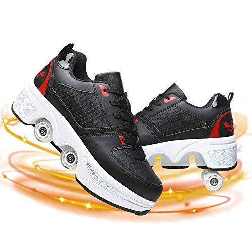 Dytxe-shelf Patines De Ruedas para Niños, Multifuncional Deformación Ajustable Polea Zapatos para Adulto, Transpirables, para Principiantes, Niñas y Niños