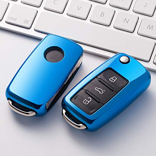 TPU Car Key Case Auto Key Protection Cover paraVW New Passat Lavida Tiguan Car Holder Shell Colorful Car-Styling Accessories A-Blue