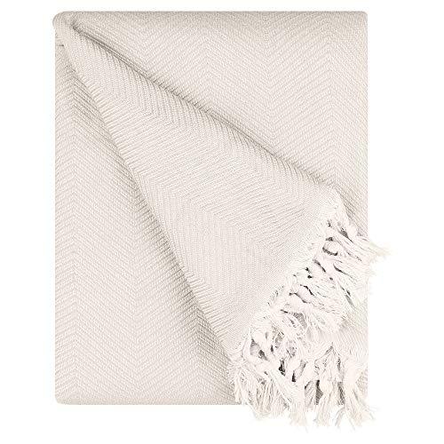 BOHORIA® Premium Tagesdecke Tulum - Bettüberwurf Wohndecke Wendedecke Kuscheldecke Sofadecke mit Muster | extra-groß 170 x 230 cm (Natural Cotton)