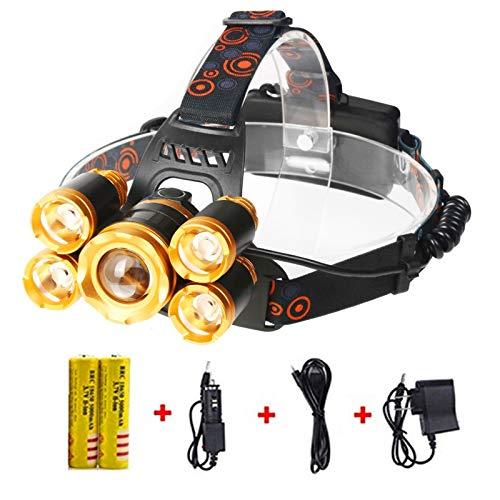 YHKJ Headlamp,Work Headlight 12000 Lumen Flashlight,Brightest Waterproof Hard Hat Light,Powerful Led Headlight,Portable Head Lamp,CREE T6 Rechargeable Head Lights,for Camping Outdoor Sports(Gold)