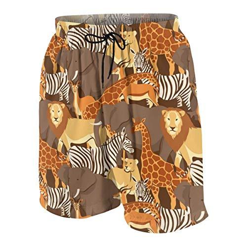 NA Afrikanische Savanna-Tiere, Kinder, Jungen, Badehose, lustig, 3D-Druck, schnelltrocknend, 7–20T, Herren, weiß, S(7-8)