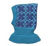 100% Merino Wolle Balaclava Wintermütze Baby Kinder Mädchen Junge Gestrickt (S, Aqua blue-Purple)