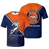 Xiaolimou NFL Atlanta Falcons, Denver Broncos T-Shirt pour Homme, Manches Courtes, Épaules Tombantes, Col Rond, Manches Courtes pour Fans De Rugby, Adaptées Aux Loisirs Et Aux Sports,Broncos,XXXL