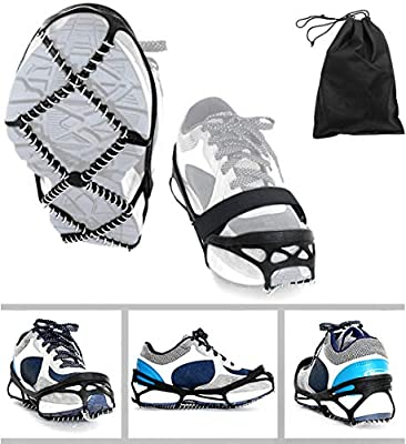ZSFLZS Ice Cleats, Traction Cleats Grippers with Magic Tape Straps and a Storage Bag Non-Slip Over Shoe/Boot Rubber Spikes Crampons Anti Slip Walk Traction Cleats for Hiking Walking on Snow and Ice