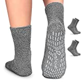 Pembrook Non Skid / Slip Socks – (2-Pack – Gray) – Hospital - Fuzzy Slipper Socks – Great for adults, men, women. Designed for medical hospital patients but great for everyone
