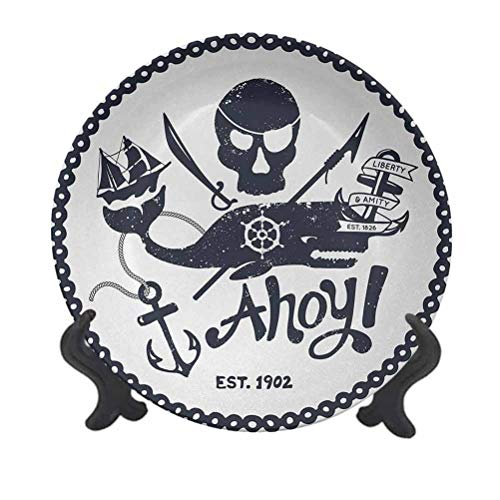 SfeatrutMAT 10' Anchor Dinner Plate,Vintage Style Nautical Pirate Skull and Whale Design with Ship Anchor Image Ceramic Tableware Plate for Dining Table Tabletop Home Decor Dark Blue White