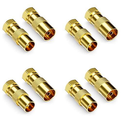 deleyCON Set di 8 Adattatori per Cavo SAT - 4 Connettore F a Spinotto IEC Maschio e 4 Connettore F a Spinotto IEC Femmina Connettore Cavo Coassiale Antenna Attacco per Cavo Coassiale