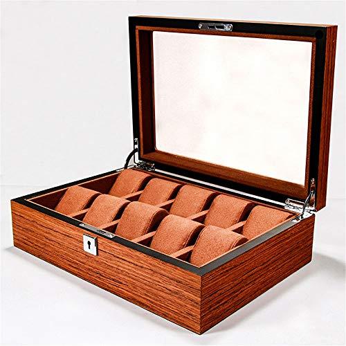 Rawall-hom Exquisite Uhrenbox Holz Uhrenbox mit Schloss-Display-Box 10-Bit-Schmuck Aufbewahrungsbox Holzmaserung transparentem Fenster für Heim und Video-Shops (Farbe : Braun, Size : One Size)