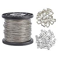 AHANDMAKER304ステンレス鋼ワイヤーケーブル, 328フィートの長さ1/16ワイヤーロープ、20Pscステンレス鋼シンブルおよび50Pcsアルミニウム圧着スリーブ(ストリングライト用), 物干し
