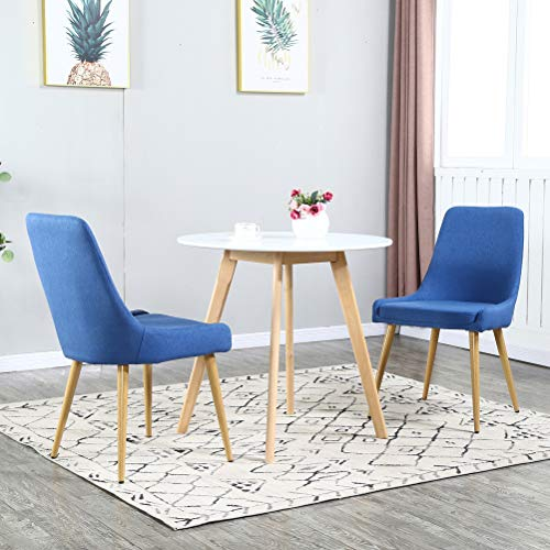 Dining Table Set for 2,Modern 3 Pieces Dining Room Set,White Wood MDF Table and 2 Blue Upholstered Fabric Dining Chairs,Kitchen Dining Room Table and Chairs for Home,Small Space(Table + 2 Blue Chairs)
