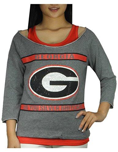 2 PCS SET NCAA GEORGIA BULLDOGS Womens Tank Top & Shirt with Rhinestones M Grey & Red image