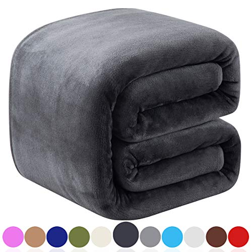 "Richave Fleece Queen Size Blankets for Fall Winter Spring All Season 350GSM Lightweight Throw for The Bed Extra Soft Brush Fabric Summer Autumn Warm Sofa Blanket 90"" x 90""(Dark Gray Queen)"