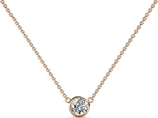 TriJewels Round Diamond 1/10 ct to 3/4 ct Bezel Set 3mm to 5.8mm Womens Solitaire Pendant Necklace (I1-I2, H-I) 14K Gold with 16 Inches Gold Chain