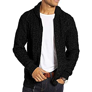 Men's Shawl Neck Cardigan Sweater Cable Knit Zip Up Closure with Pockets Winter Jacket Outerwear