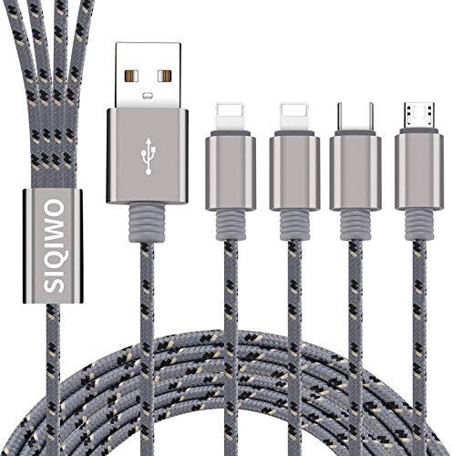 SIQIWO 2Pack/1.2m/3A Multi 4 en 1 Tipo C/2 iP/Micro USB Conector de...