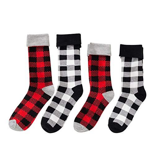 Unisex Plaid Socks Set Christmas Holiday Slipper Socks Cotton Xmas Novelty Gift for Men Women Baby Boy Girl (4 Pairs Adult+Kid(5-8 Years))