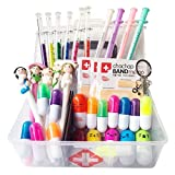 38 Pcs Novelty Stationery Supplies Set for Nurse,Syringe Highlighter Vitamin Pill Ballpoint Pens Metal keychain Cartoon Nurse Ball Pens And 3 Bandage Sticky Notes For Doctor