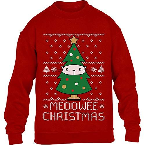 Shirtgeil Meoowee Christmas/Gattino Albero di Natale Maglione per Bambini e Ragazzi 7-8 Anni (122-128cm) Rosso