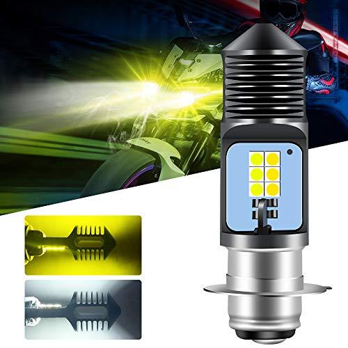 Chemini 1 piezas Bombilla LED para faros delanteros de motocicleta P15D H6M 600LM 6000K ámbar y blanco 12SMD 3030 chip Haz alto/bajo Bombilla de faro de motocicleta