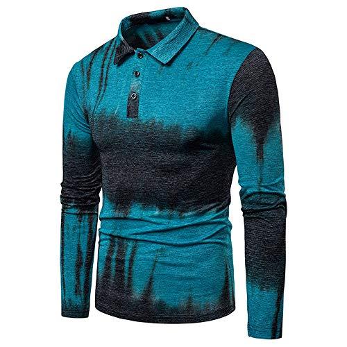 Generice Herren-Poloshirt, langärmelig, modisch, Nahtfarbe Gr. Small, blau