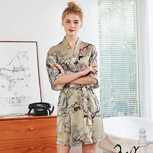 Handaxian Robe Ladies Belt Bademäntel Satin Silk Pyjamas V-Ausschnitt Mini Pyjamas Bademantel Spring Summer Pyjamas Camel L