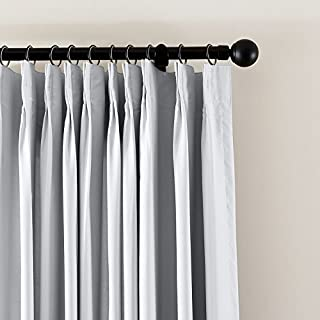 cololeaf Pinch Pleated Blackout Curtains Room Darkening Drapes Thermal Insulated Solid Window Treatment Pair Bedroom, Nursery, Living Room,French Door,Greyish White 52W x 96 Inch (1 Panel)