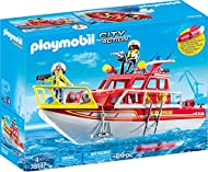 Features a floating rescue boat With 2 winches aboard, one for the anchor and one for the hook with secret storage compartment on board Lights at the top of the boat rotate and can be moved around Includes underwater motor