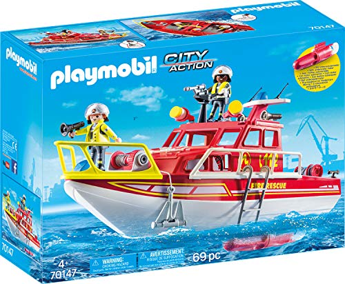 Playmobil 70147 City Action Feuerlöschboot, bunt
