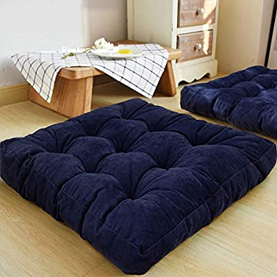 HIGOGOGO Floor Pillow, Square Meditation Pillow for Seating on Floor Solid Thick Tufted Seat Cushion Meditation Cushion for Yoga Living Room Sofa Balcony Outdoor, Navy, 22x22 Inch