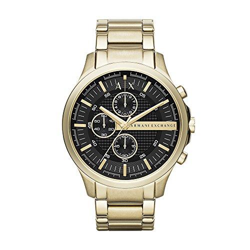 Armani Exchange AX Relógio social masculino de aço inoxidável de quartzo, Crono dourado/preto,