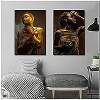 金色の液体キャンバス絵画壁アートポスターとプリント写真付きの黒人女性のキャンバスに印刷リビングルームの家の装飾60x80cmx2フレームなし