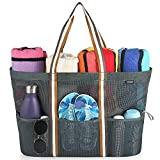 GAGAKU Bolsa Extra Grande de Malla de Playa, Bolsos Totes para Mujer - Bolsa de almacenamiento para Playa y Bañarse y Natación - Gris