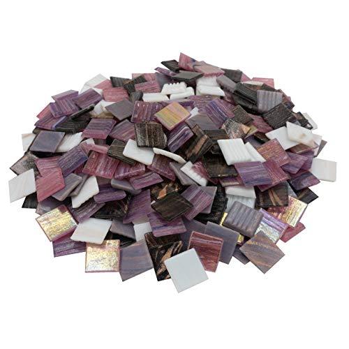 mosamare Mosaiksteine Kupferschimmer mit Perlmutt (2x2 cm, 900g, ca. 340 St.) - buntes Mosaik ideal zum Basteln - Glasmosaik - ohne Plastik (Kupfer Rosa Mix)