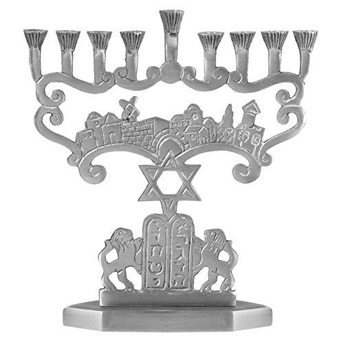 Ner Mitzvah Artistic Aluminum Candle Menorah - Fits All Standard Chanukah Candles - Tranditional Star Design