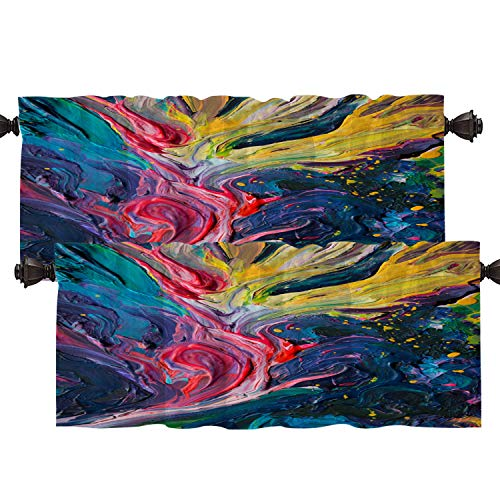 Batmerry Vibrant Colorful Unique Kitchen Valances Half Window Curtain, Abstract Expression Rainbow Colors Unique Pattern Kitchen Valances for Bedroom Heat Insulated for Decor 52x18 Inch