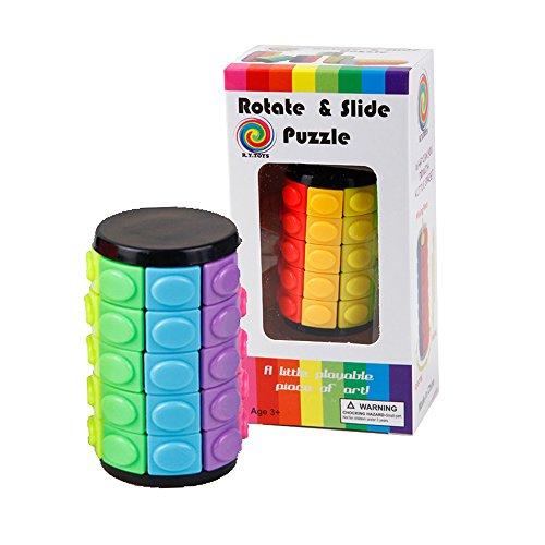 Baffle Puzzle - 回転&スライド3Dパズルおもちゃ - カラフル5層マジックタワーキューブ - クリエイティブIQゲーム、入門チュートリアルを添付